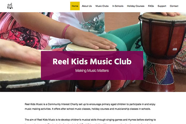 Reel Kids Music Club WordPress website